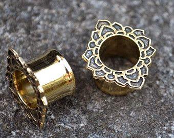 SPRING SALE Lotus Brass Ear Tunnels - Ear Plugs - Ear Gauges - Brass Tunnels - Scretched lobes - Gauge Jewelry - Piercing Jewelry