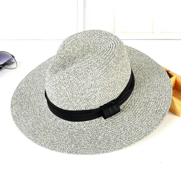 Богемия Стиль летние шляпы для Женщин Мужчин Черный Пояс Бантом соломы флоппи hat кентукки дерби шляпы Пляж Головные Уборы Джаз Шляпы B592 купить на AliExpress