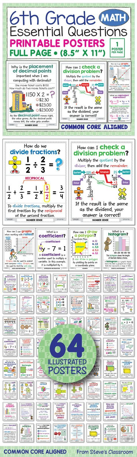 *** I updated these posters and put them on sale to celebrate. 50% OFF! *** I love these posters for two reasons! 1) The illustrations help students understand sixth grade math concepts like ratios and proportions, number sense, fractions, expressions and equations, geometry, and statistics. 2) The bundle has EVERY sixth grade math concept in one small file that I'll never LOSE! Way easier to keep track of than anchor charts!
