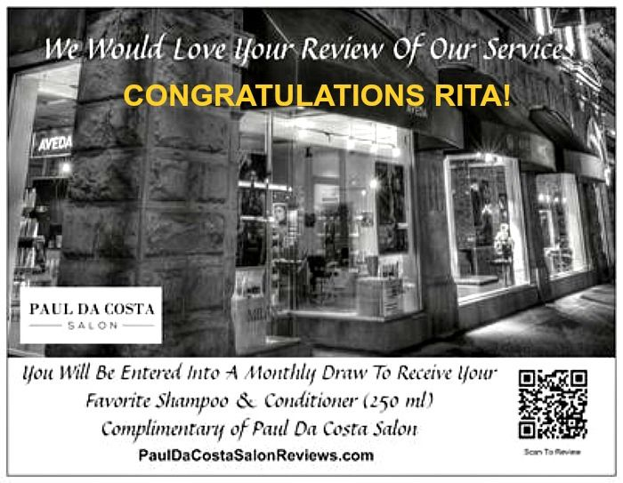 Let's hear it for Rita! Our January 2015 Review Winner! Congratulations to her for winning her favorite Aveda shampoo and conditioner (250 ml) complimentary of our salon! You could be our next winner. Click here: http://pauldacostasalonreviews.com/ #PaulDaCostaSalon