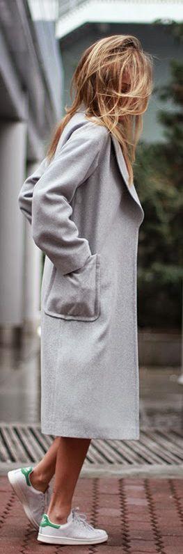 #street #fashion gray coat / fall @wachabuy