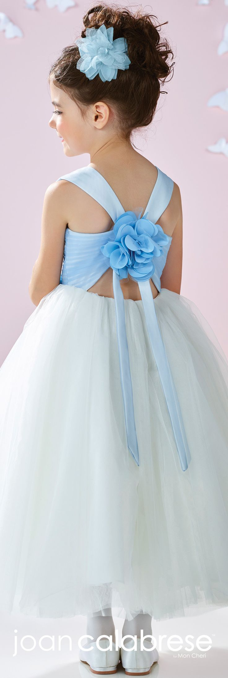 Joan Calabrese for Mon Cheri - Spring 2017 - Style No. 117355 - light blue & ivory satin and tulle flower girl dress