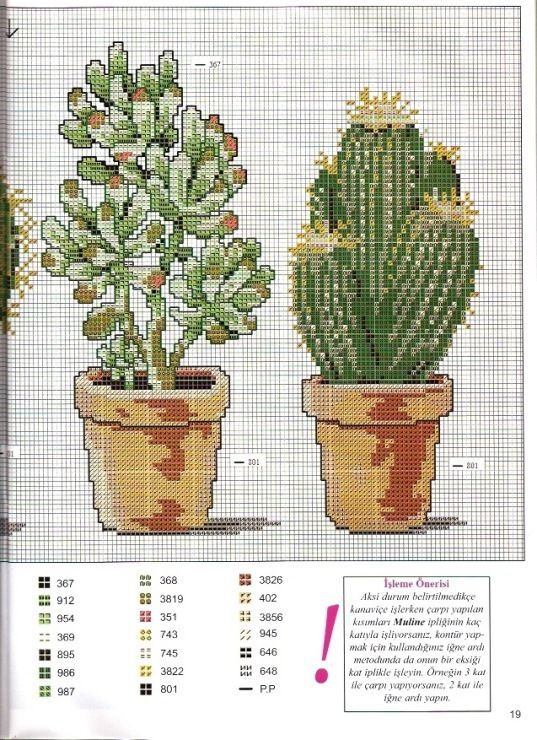 Borduurpatroon Bloemen&Planten Kruissteek *Cross Stitch Pattern ~Vetplant & Cactus *Succulent~ 2/2