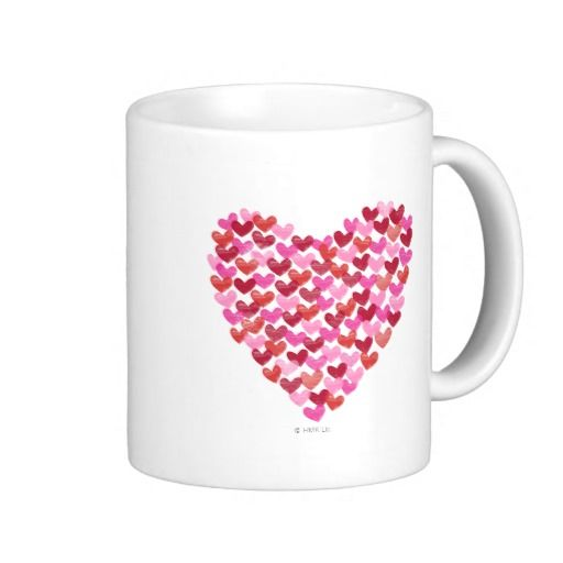 A sweet heart coffee mug! The cute little pink and red hearts join together to form a bigger heart. A cute Valentine's Day gift idea!