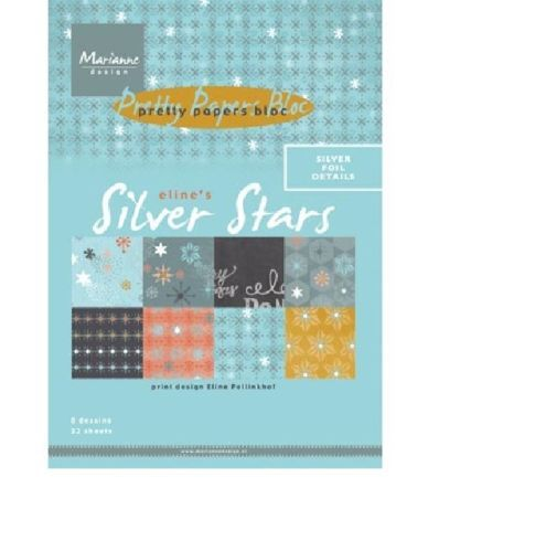 Marianne-Design-Papierblock-Paper-Bloc-ScrapbookingPapier-32-Boegen-Silver-Stars