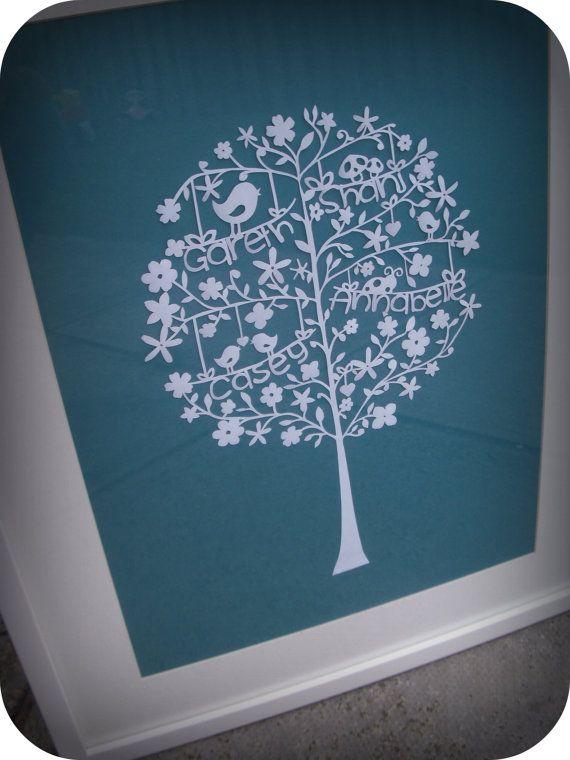 Personalised Family Tree Papercut by TheCraftyGiraffeShop on Etsy, £40.00