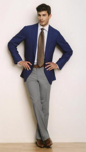 Синий пиджак серые брюки