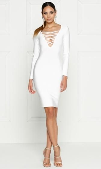 Cruel Intentions Long Sleeve Plunge V Neck Crisscross Bodycon Bandage Midi  Dress - 2 Colors Available  9744fa396