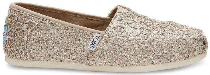Toms Classic Rose Gold Crochet Glitter Womens Espadrilles Shoes