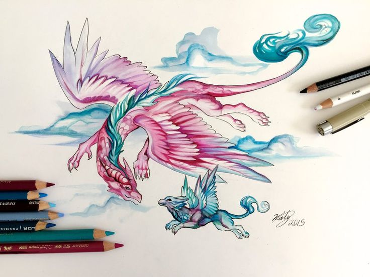 A mother dragon takes her hatchling for a first flying lesson. I really loved using this color palette <3 It's so soft and flowy.  New Mother's Day cards, prints and originals are being add...