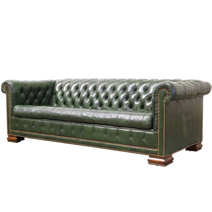 Vintage Green Leather Chesterfield Sofa Bed