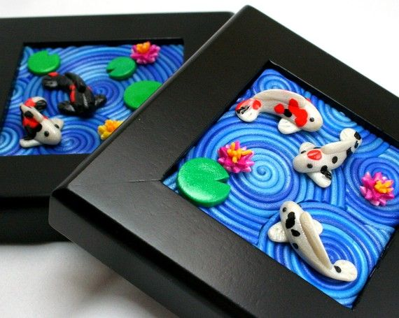 Sculpey Koi Pond from Starless Clay on Etsy