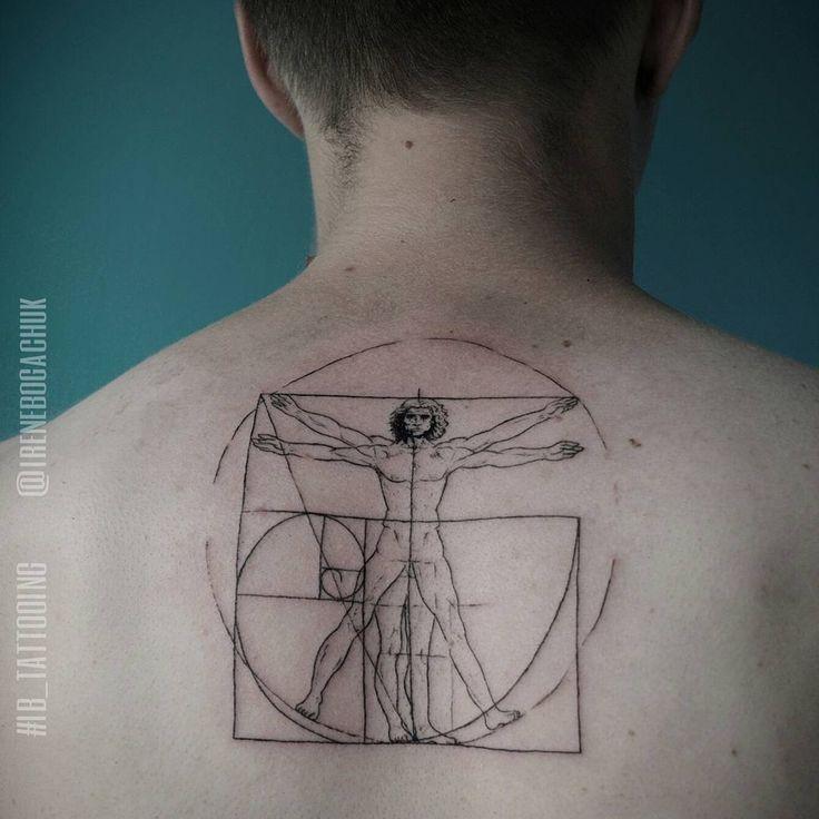Leonardo Da Vinci's Homem Vitruviano tattoo. Tattoo artist Irene Bogachuk. #IB_TATTOOING