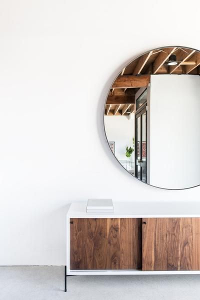 Croft House | Round Chambers Mirror, Rivera Credenza