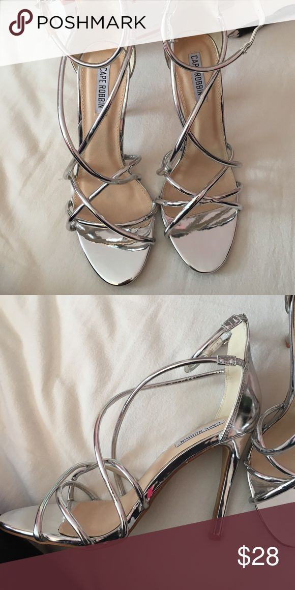 """Silver strappy heels Size 8. Brand new! Patent leather upper with man made sole. 4 1/4"""" heel. Fashion Nova Shoes Heels"""