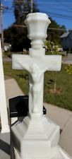 Antique Eapg White Opalescent Glass Crucifix Cross 19th Century