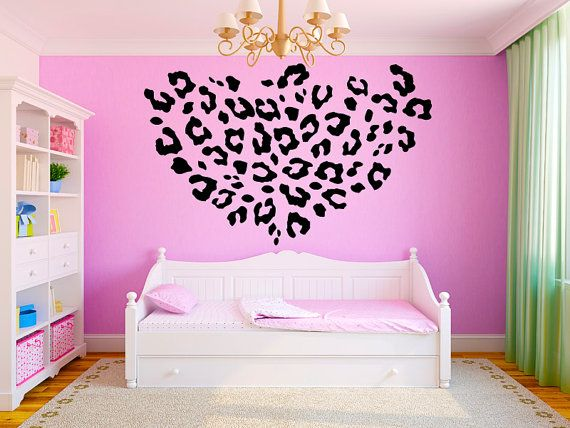 "Leopard Print Girls Teen Room Vinyl Wall Decal Graphics 22""x22"" Bedroom Decor $19.99"