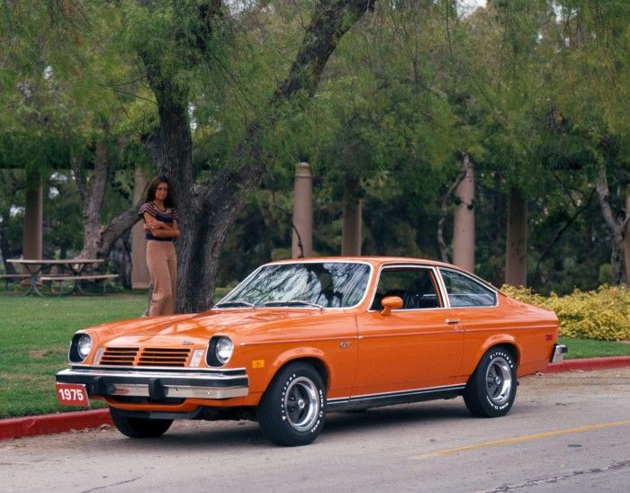 Classic orange color Chevy Vega with 70's model