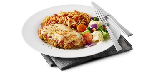 Boston Pizza International, Inc. Online Ordering Chicken Parmesan  A buttermilk-breaded chicken breast baked with marinara sauce and pizza mozzarella.