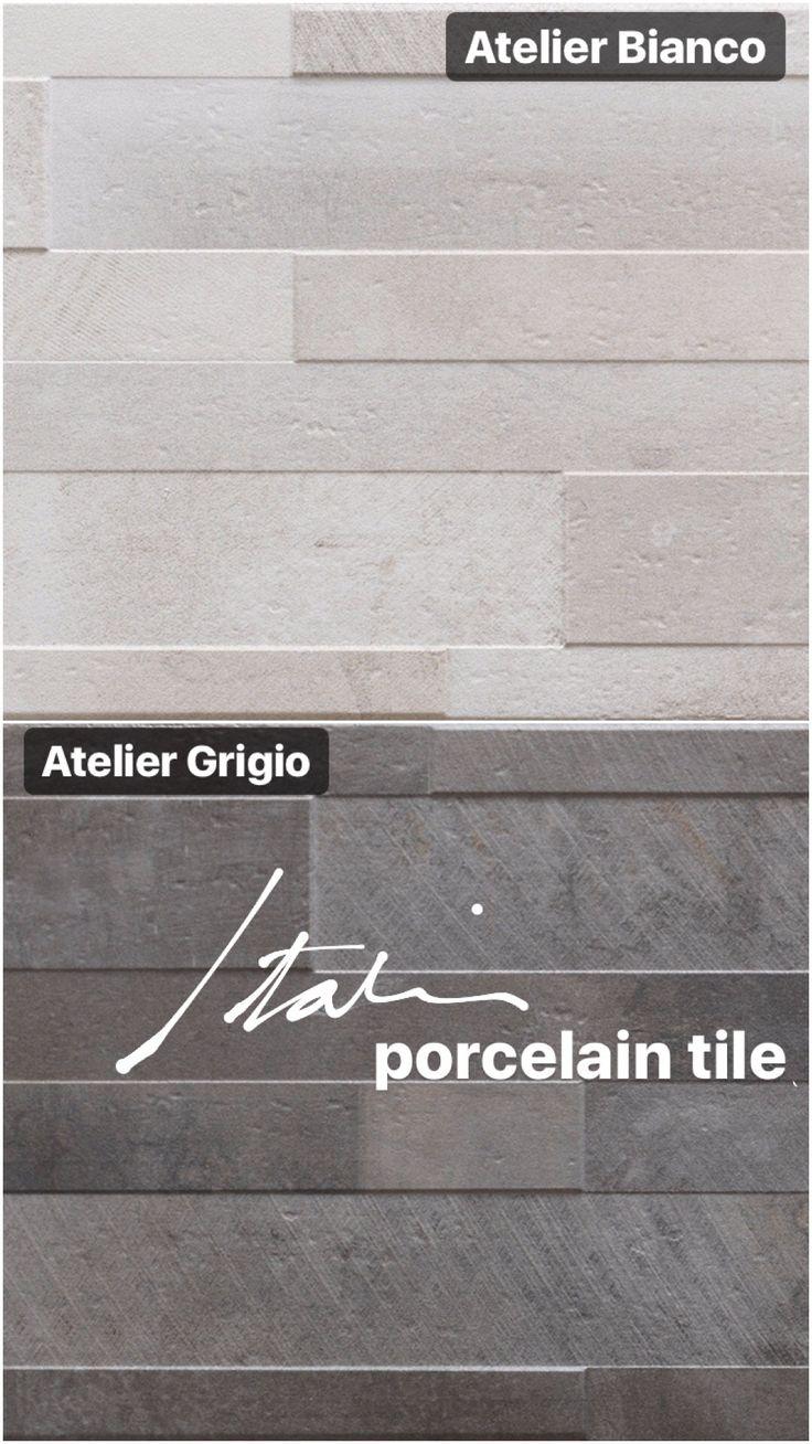 "A modern take to stacked stone tile. 8 x 24"" Atelier Series —a textured Italian porcelain tile."