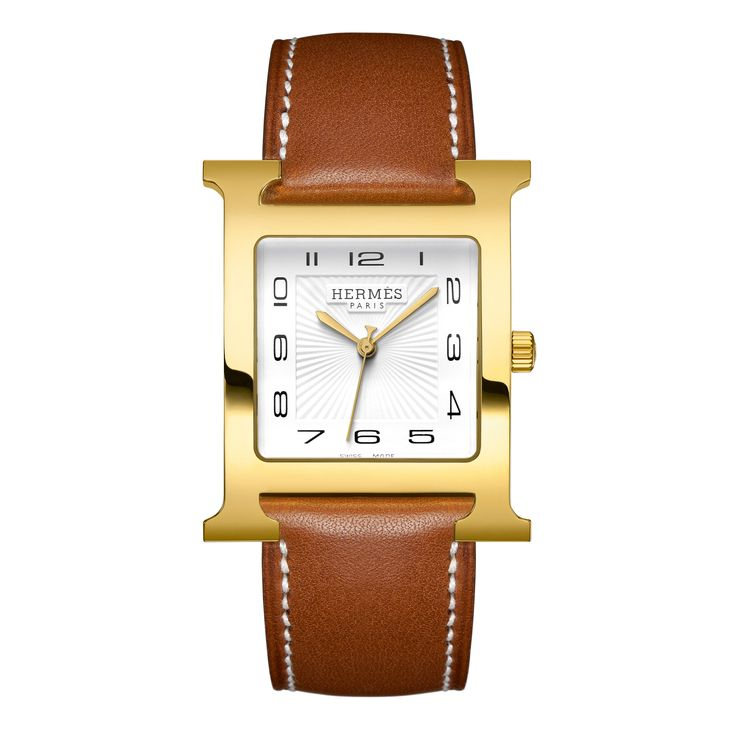 The largest size Heure H model this gold-plated version features a bold gold look. The strap is interchangeable so you can go from the classic Natural Barenia to the bright signature Hermes Orange. Mo