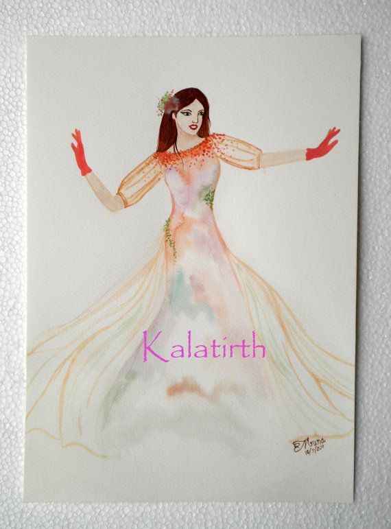 Fashion Illustration in watercolor  'Grand Entrance' by Kalatirth, $50.00