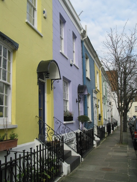Colorful houses of Notting Hill Gate - Located just behind 'The Gate' Cinema.