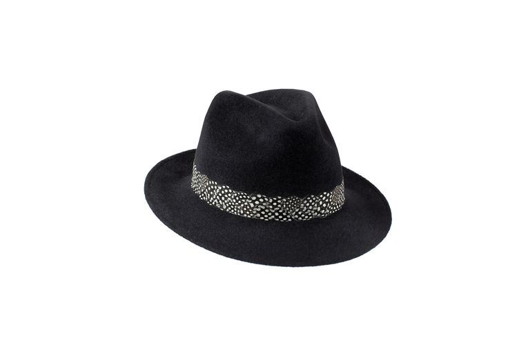 The Amber Trilby Collection | Charcoal Black | Guinea Fowl Feather Band  www.penmayne.com #trilby #hats #accessories