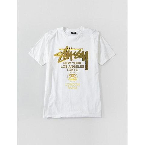 STUSSY WT GOLD TEE WHITE 1903618-WHIT | Solestop.com