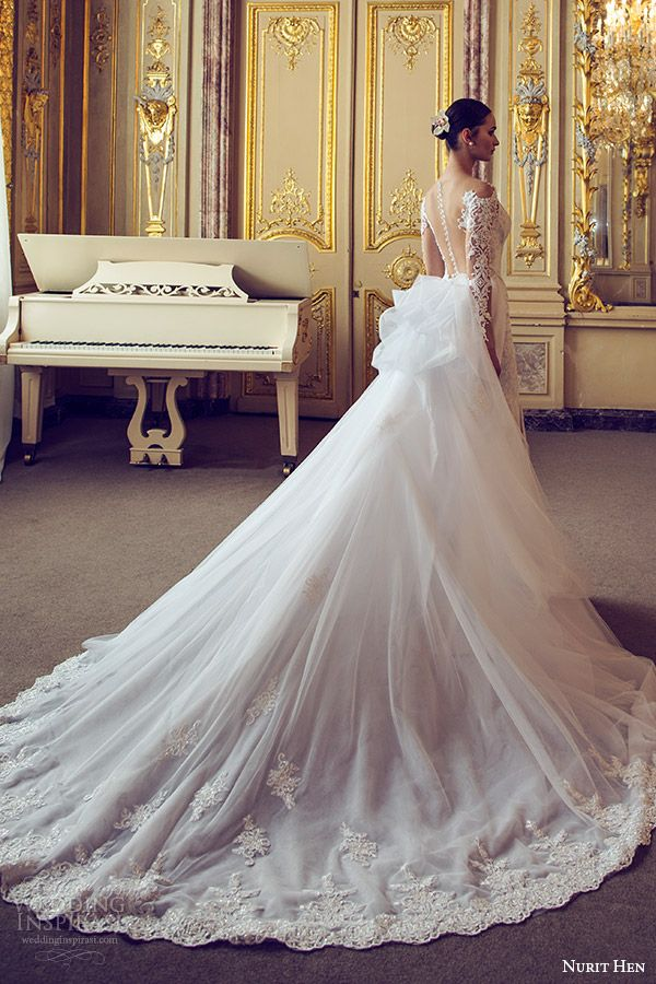 nurit hen 2016 bridal illusion long sleeves off shoulder sweetheart sheath #weddingdress