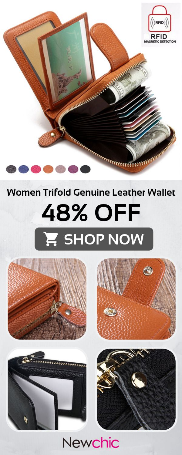 RFID Women Trifold Genuine Leather Wallet Purse Casual Card Holder #bags #wallet… – Andrea Uthardt