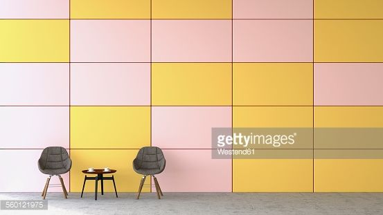 Stock Illustration : Waiting area with two chairs and a side table in front of coloured wall, 3D Rendering