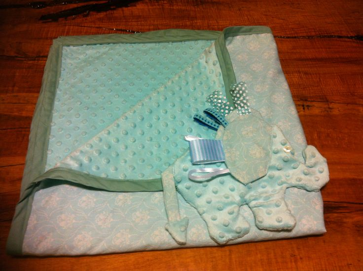 Baby blanket with matching elephant sensory snuggly