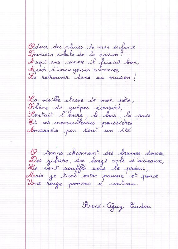 Rentrée: odeur des pluies ... de René Guy Cadou
