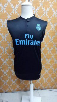 2017-18 Cheap Sleeveless Jersey Real Madrid Replica Football Shirt Navy [JFCB780]