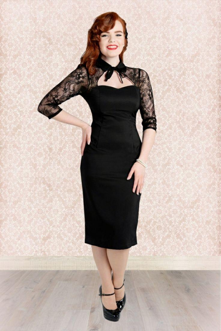 schwarzes Abendkleid mit Spitze Rockabilly Stil