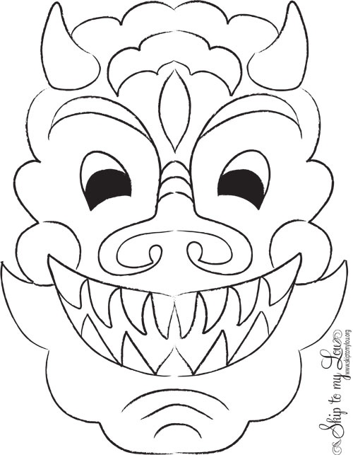 chinese new year printable dragon mask