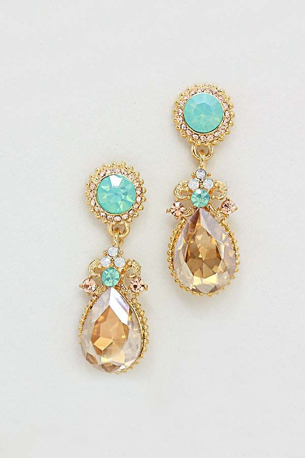 Crystal Claudia Earrings in Mint on Champagne on Emma Stine Limited