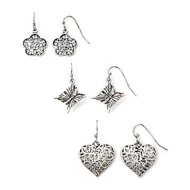 Jcp Messages From The Heart By Sandra Magsamen Silver Tone 3 Div Styleflower Earringsjewelry Watchesearring Setfashion