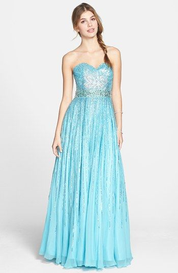 Sherri Hill Sequin Coated Strapless Chiffon Gown | Nordstrom