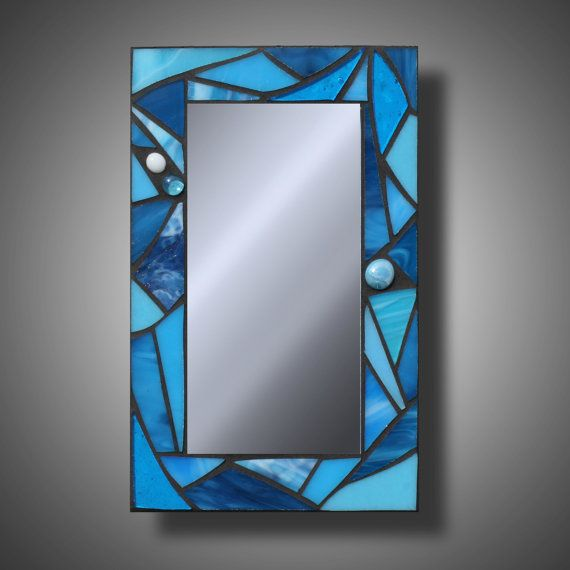 """Funky Turquoise Blue Stained Glass Mosaic Accent Mirror, 7.75"""" x 12"""""""