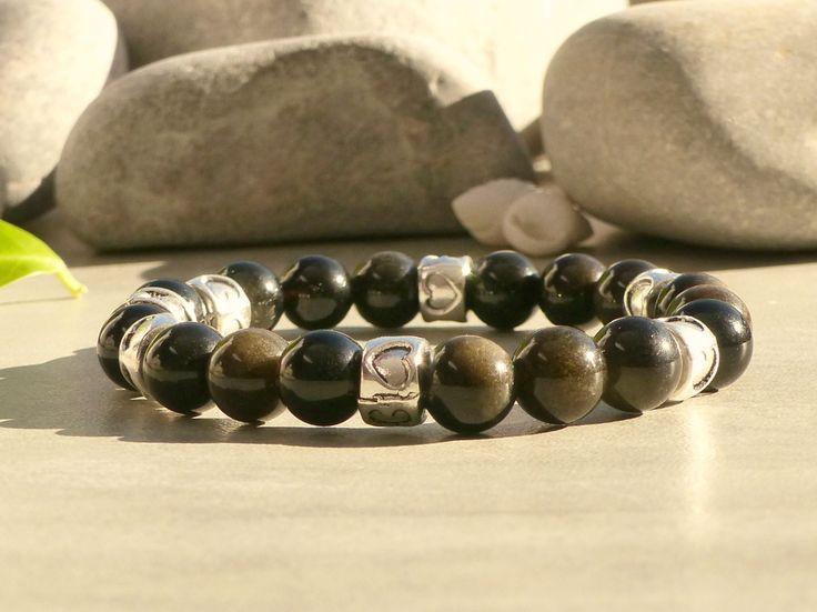 Bracelet en obsidienne dorée, bracelet en perles d'obsidienne, bracelet de protection en pierres gemmes : Bracelet par lapassiondisabelle