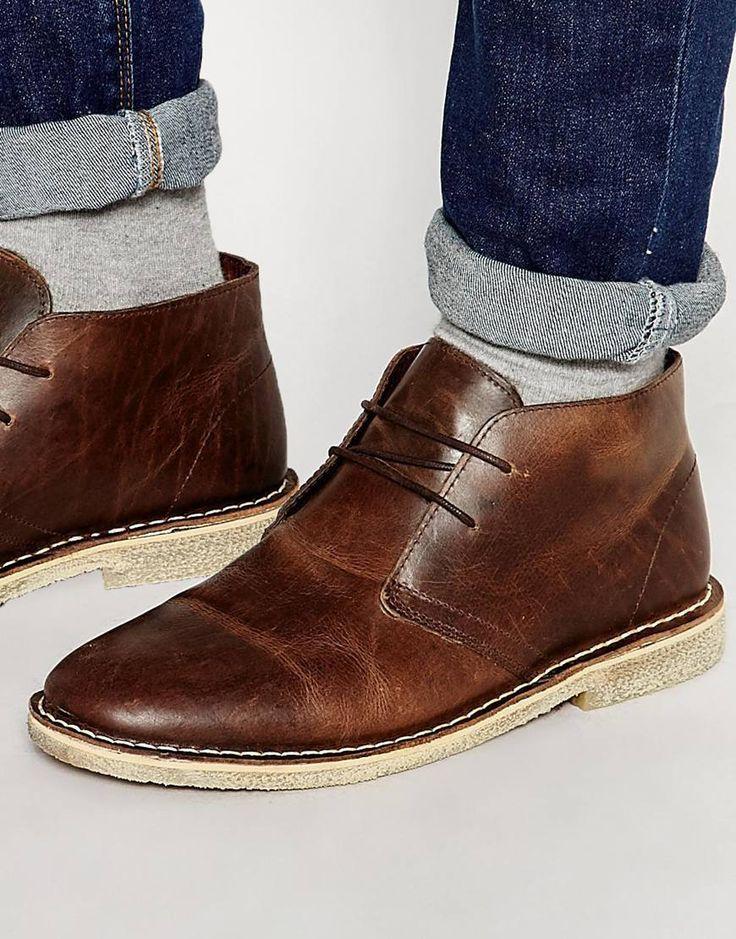 Image 1 - ASOS - Desert boots en cuir - Marron