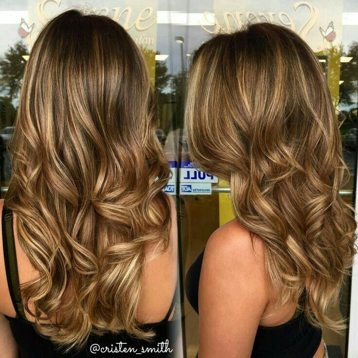 Golden caramel brown balayage