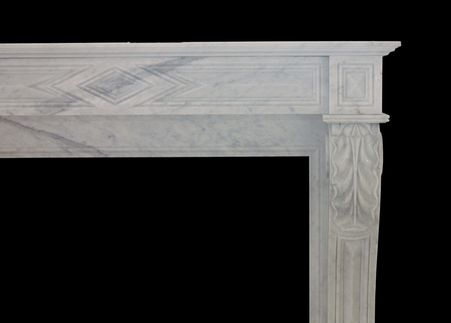 Lovely & Clean Lines, Hand Carved Marble Fireplace Mantel #8528