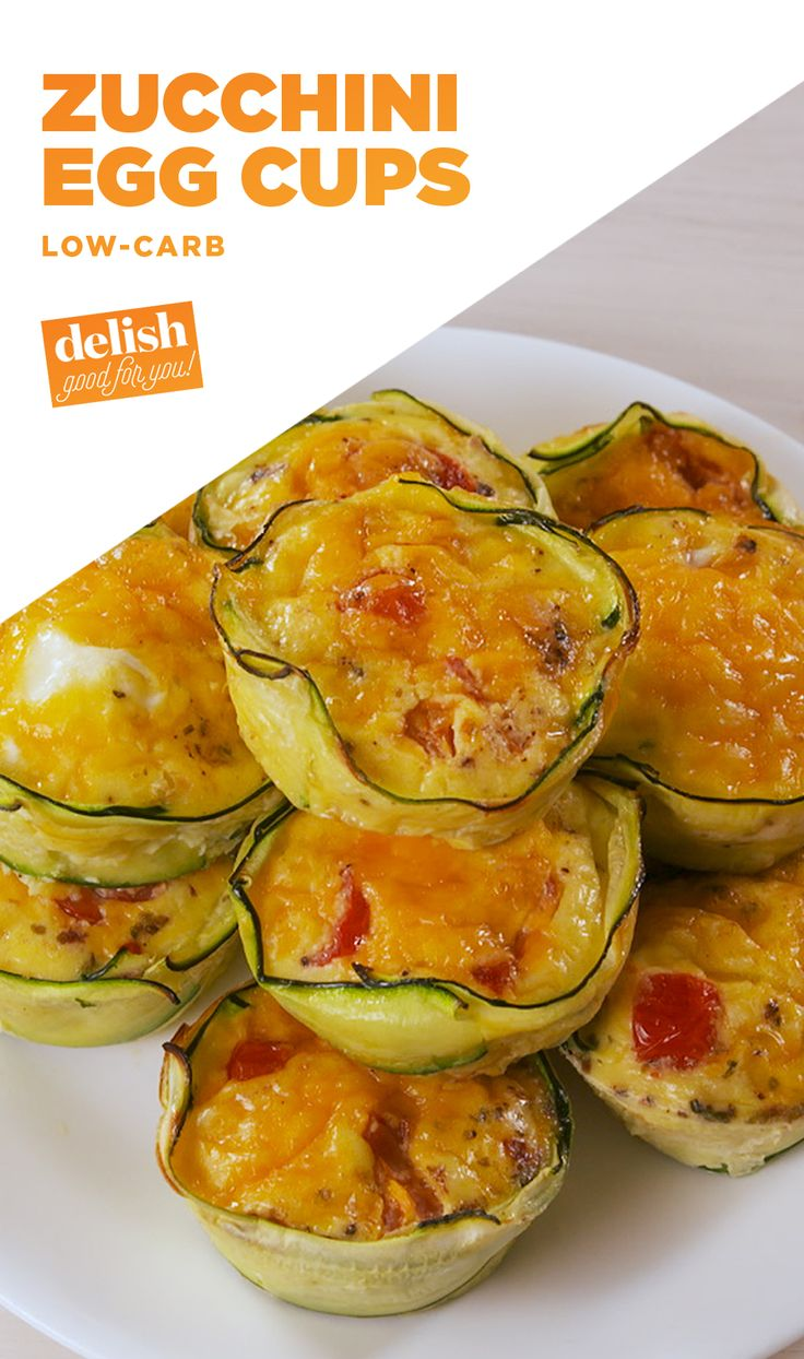 Zucchini Egg Cups are officially our new favorite low-carb breakfast. Get the recipe at Delish.com. #lowcarb #zucchini #egg #breakfast #brunch #delish #easyrecipe #recipe #cheese