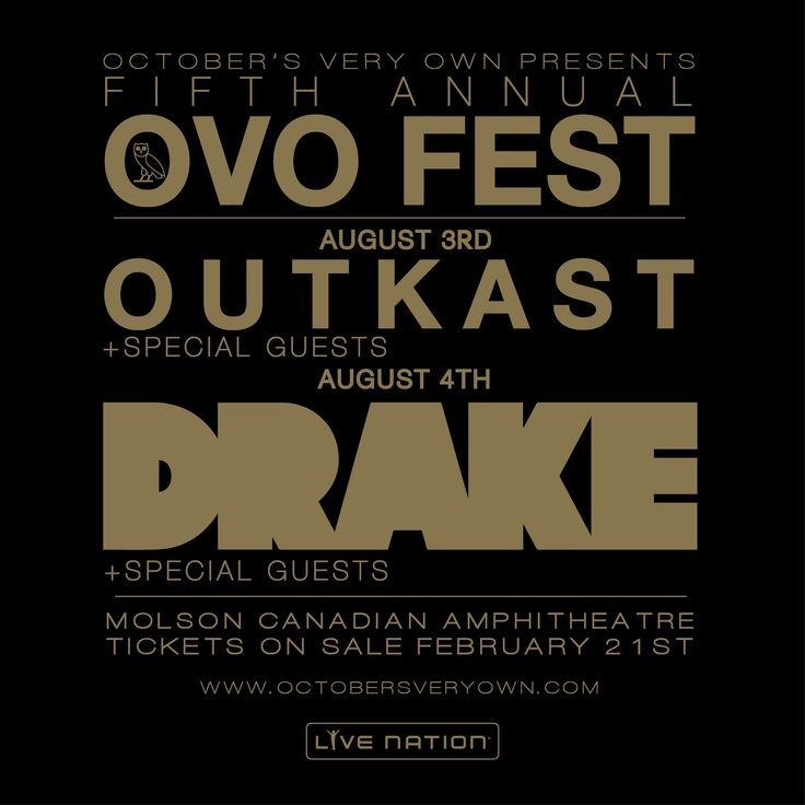 Drake's OVO Fest looks to have become a staple event for Canada in its short existence. It's been announced that the Fifth Annual OVO Fest is going to receive a $30,000 grant from the Celebrate Ontario program administered by the Ministry of Tourism, Culture and Sport. This year's festival will take place on Aug. 3-4 and will include performances from Drake, Outkast and what can be expected to be a star-studded line-up of surprise guests.