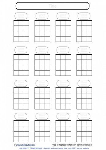Blank Ukulele Chord Paper Handy For Lefties
