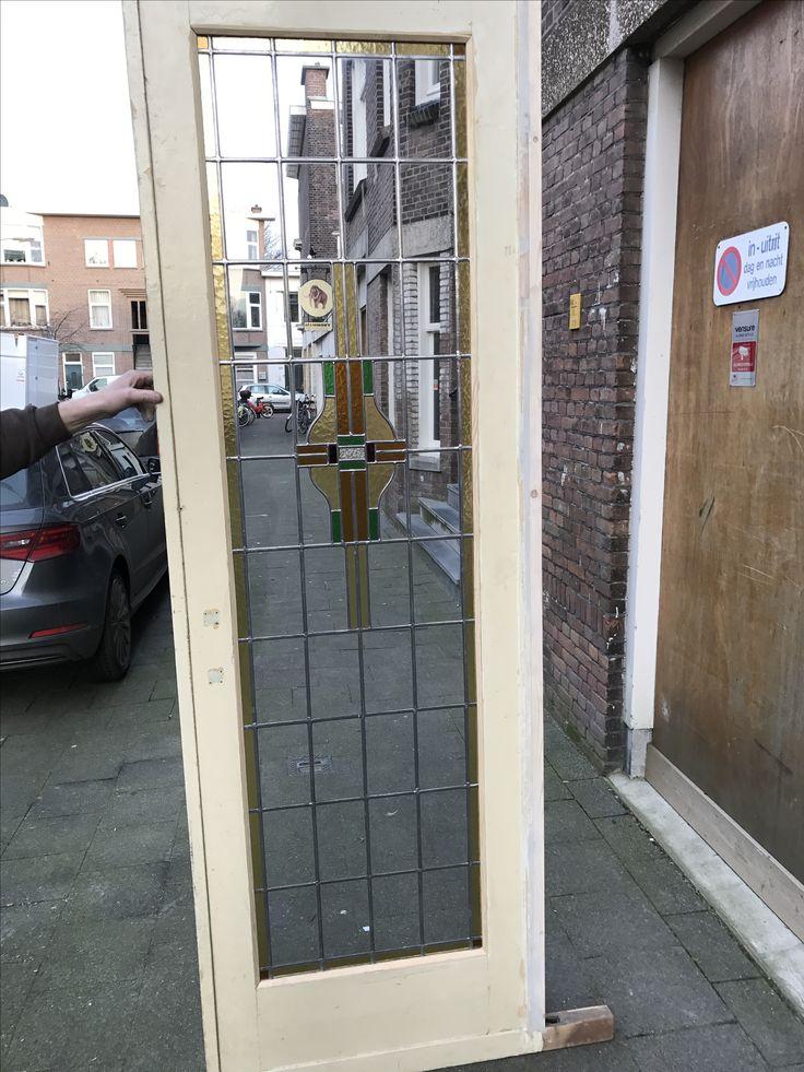 Glas in lood gerestaureerd voor deze prachtige Ensuite deur   Mammoet Oude Bouwmaterialen