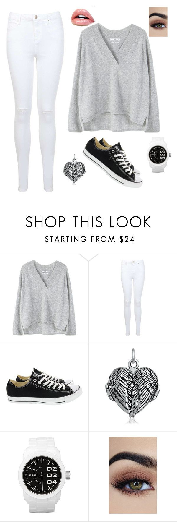 """Untitled #110"" by sr-for-the-world on Polyvore featuring MANGO, Miss Selfridge, Converse, Bling Jewelry and Diesel"